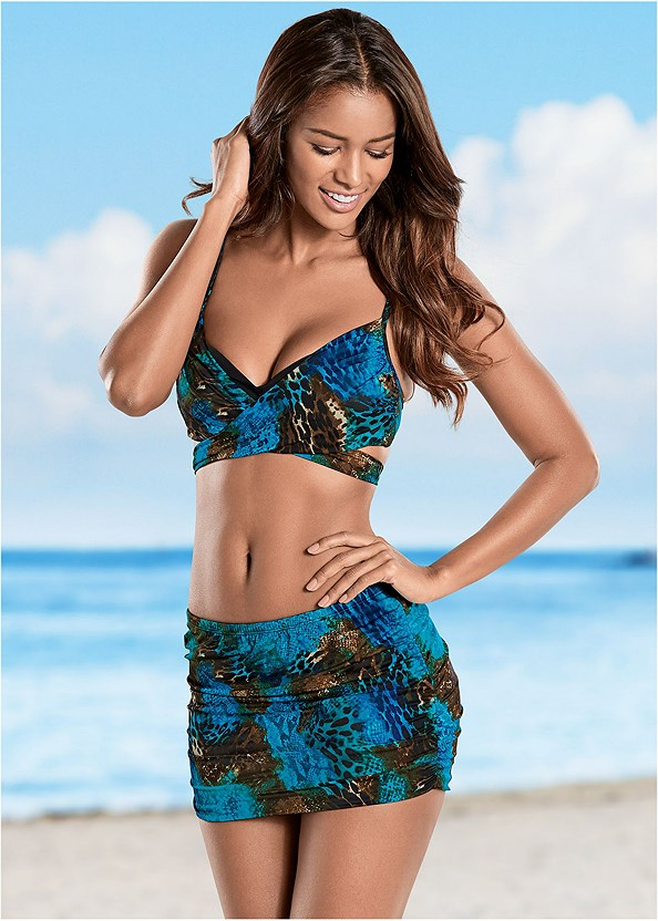 Ruched Skirted Bottom,Crisscross Wrap Top,Surplice Blouson Tankini,Lovely Lift Wrap Bikini Top