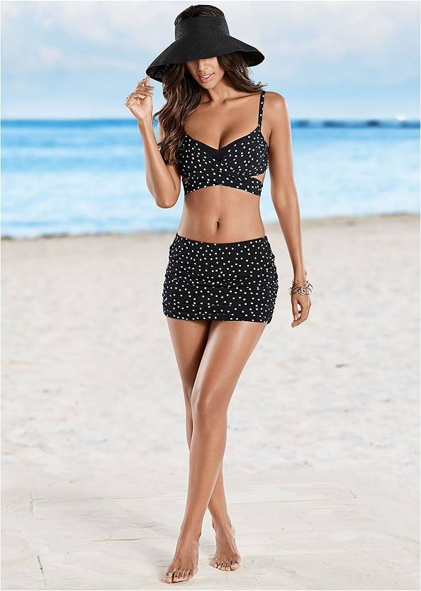 Crisscross Wrap Top,Ruched Skirted Bottom,Ruched High Waisted Bottoms