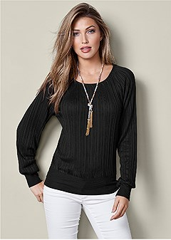 pleated sweater