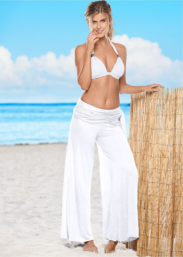 Tie Waist Beach Pant,Goddess Enhancer Push Up Halter Top,Goddess Low Rise Bottom