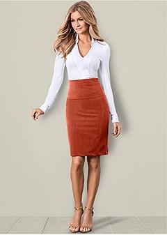 slimming pencil midi skirt