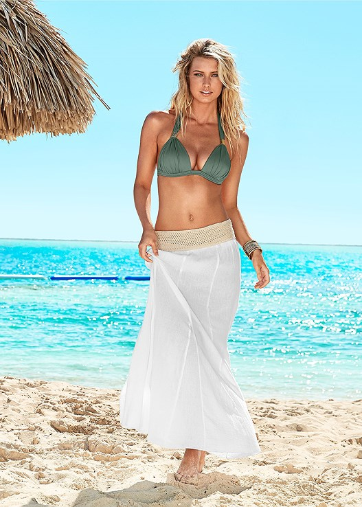 GAUZE CROCHET WAIST SKIRT,GODDESS ENHANCER PUSH UP,SCOOP FRONT BIKINI BOTTOM,OFF SHOULDER GAUZE CROP TOP