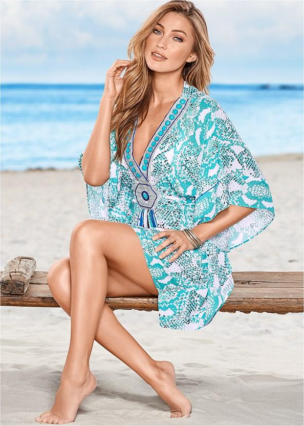 Embellished V-Neck Poncho,Underwire Halter Bikini Top