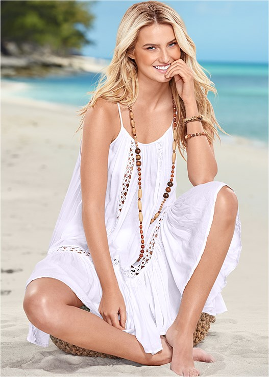 CROCHET DETAIL COVER-UP,STRAPPY PUSH UP BIKINI TOP,GODDESS MID RISE BOTTOM,PANAMA HAT