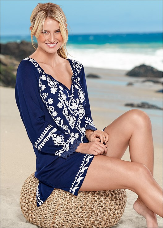 SEQUIN DETAIL COVER-UP,GROMMET LACE UP ONE-PIECE,STRAW FRINGE HAT