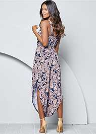 Back view Belted Paisley Jumpsuit