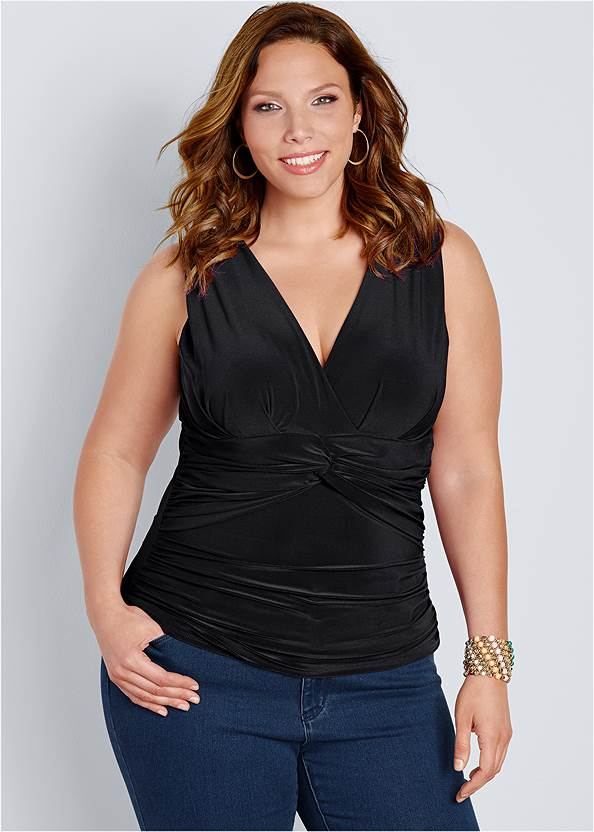 Front view Knot Front Sleeveless Top