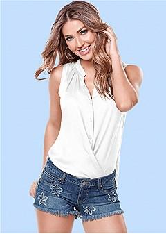 draped sleeveless shirt
