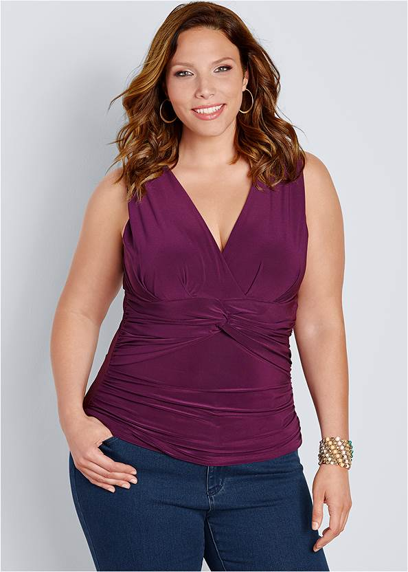Knot Front Sleeveless Top,Bum Lifter Jeans,Surplice Halter Top,High Heel Strappy Sandals