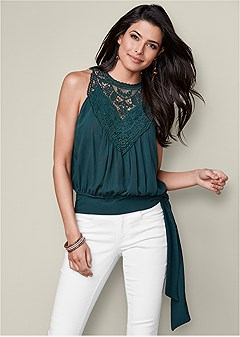 side tie lace detail blouse