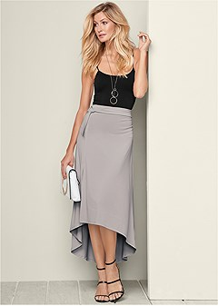 belted high low maxi skirt