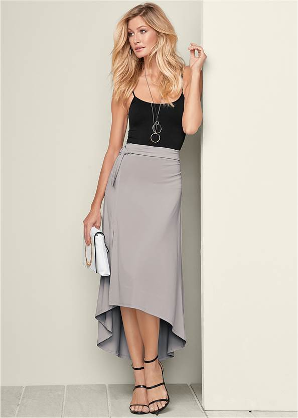Belted High Low Maxi Skirt,Basic Cami Two Pack,High Heel Strappy Sandals