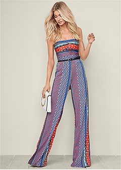 plus size strapless printed jumpsuit