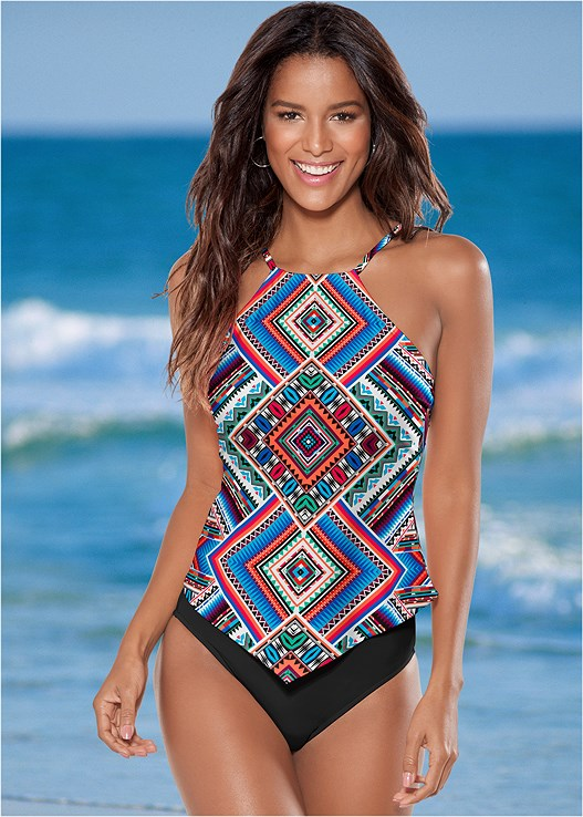 HANKY HEM HIGH NECK TANKINI,HIGH WAIST MODERATE BOTTOM,HIGH WAIST FULL CUT BOTTOM