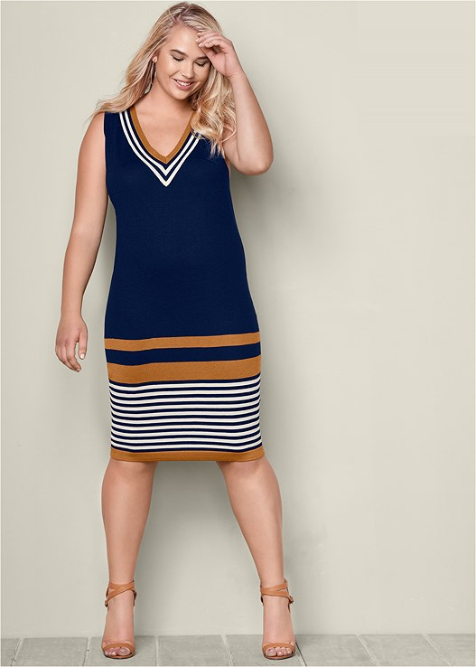 Plus Size Striped Sweater Dress Venus
