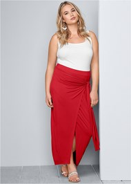 Plus Size Tie Front Long Skirt