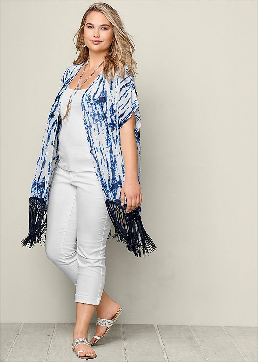 FRINGE KIMONO TOPPER,SLIMMING STRETCH JEGGINGS