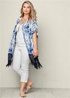 plus size fringe kimono topper