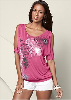 feather cold shoulder tee
