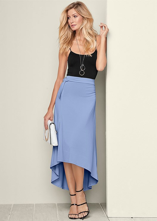 9a53a5cf8fe Black BELTED HIGH LOW MAXI SKIRT