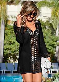 Front view Open Crochet Trimmed Tunic