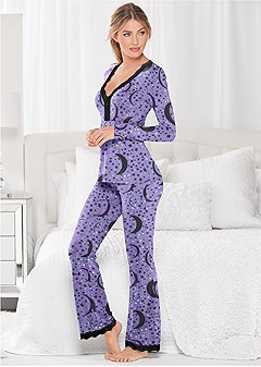 plus size lace trim pajama set