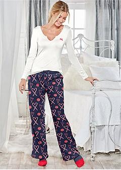 plush pajama 3 piece set