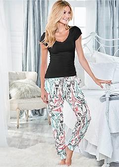 printed jogger pant set