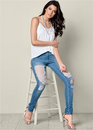 Front View Lace And Pearl Ripped Jeans