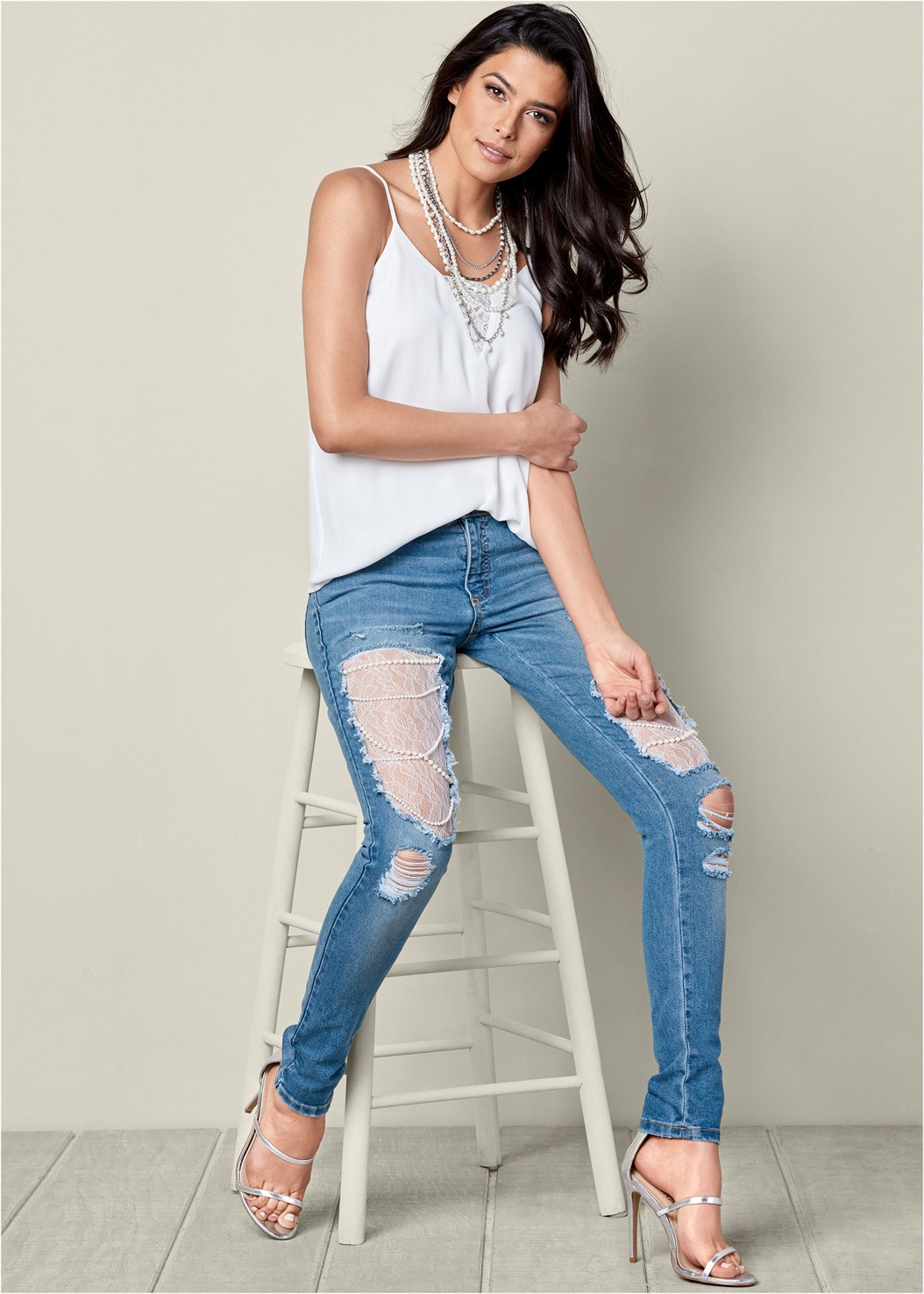 Lace And Pearl Ripped Jeans,High Heel Strappy Sandals