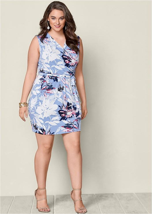 Plus Size Floral Print Wrap Dress Venus
