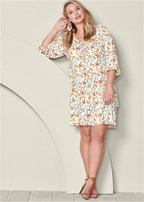 plus size butterfly casual dress