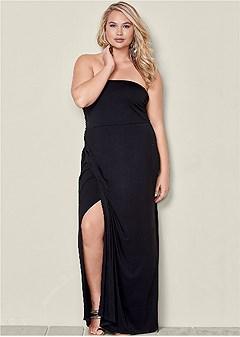 plus size maxi dress with slit
