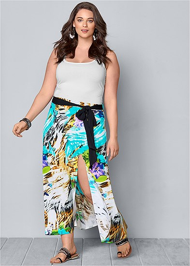 Plus Size Belted Print Maxi Skirt