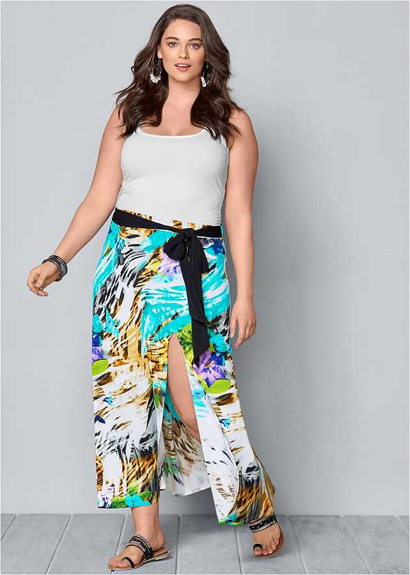 Belted Print Maxi Skirt,Square Neck Tank Top