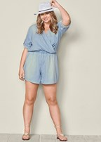 plus size chambray long sleeve romper