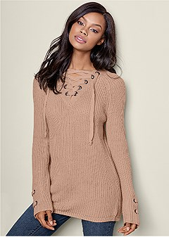 lace up long sleeve sweater