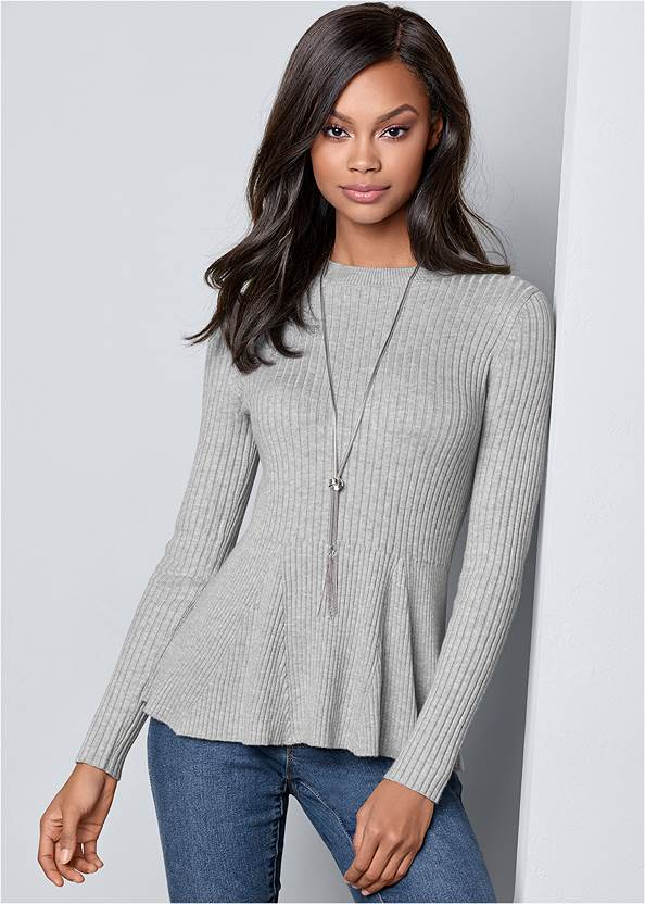 Alternate View Ribbed Peplum Sweater