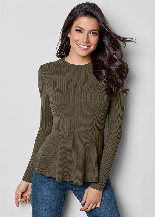 Ribbed Peplum Sweater,Mid Rise Color Skinny Jeans,Fold Over Boot
