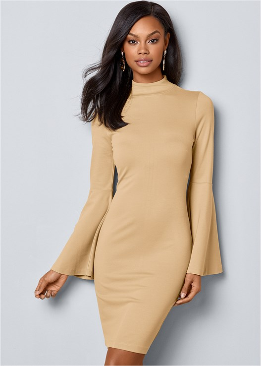 BELL SLEEVE DRESS,FAUX SUEDE POINTY BOOTIES,CONFIDENCE BUSTLESS SLIP