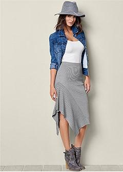 sweater asymmetrical skirt