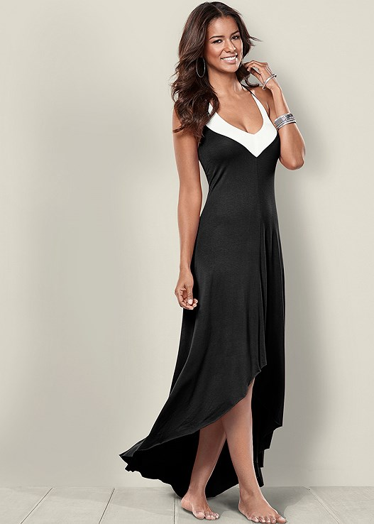 Color Block Maxi Dress in Black & White | VENUS