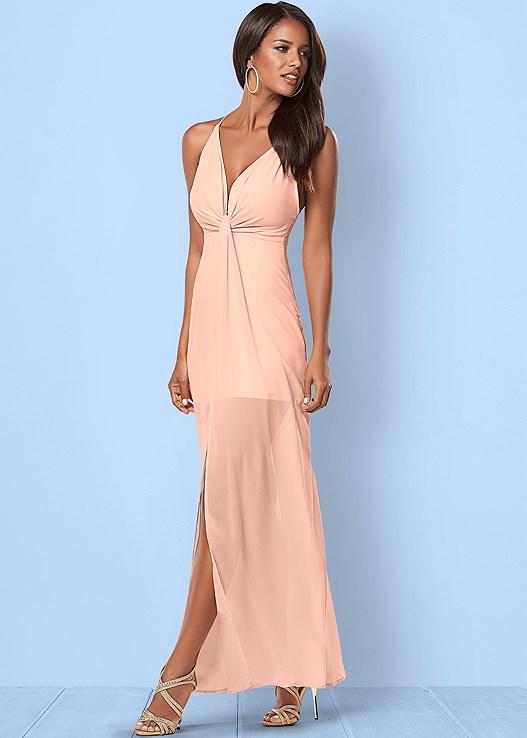 Drape Detail Long Dress