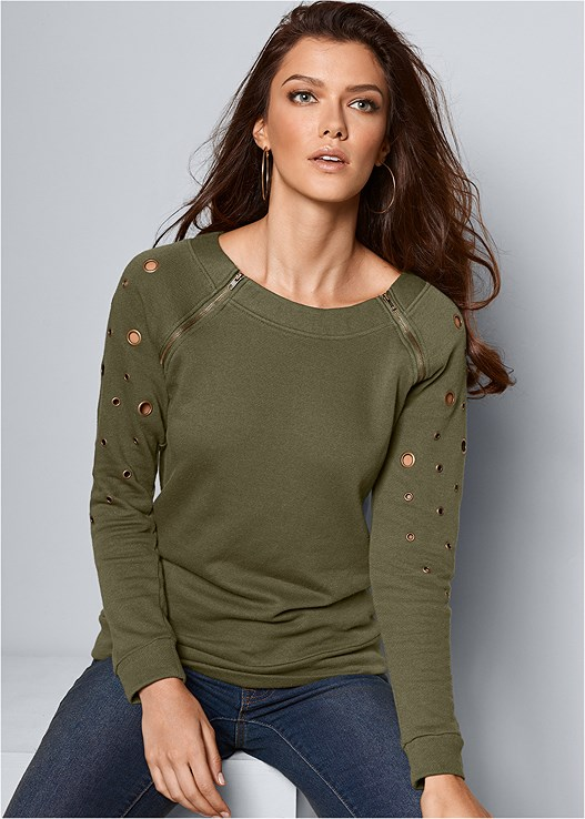 ZIPPER DETAIL SWEATSHIRT,COLOR SKINNY JEANS,EMBELLISHED WESTERN BOOT