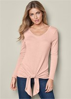 knotted long sleeve sweater
