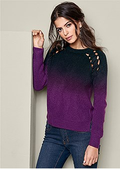 ombre neck detail sweater