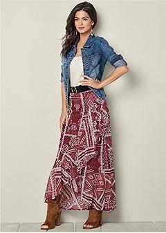 ruffle printed maxi skirt