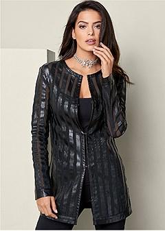 faux leather mesh jacket