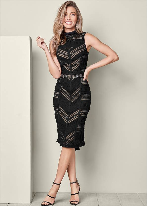 Lace Detail Dress,High Heel Strappy Sandals,Rhinestone Tie Detail Belt