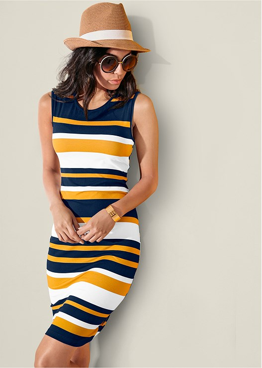 37e090e9ea6 STRIPED BODYCON DRESS in Multi